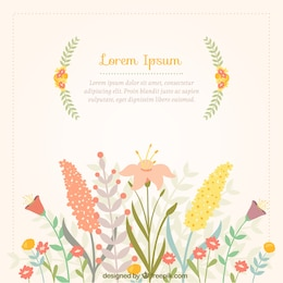 Spring card with colorful flowers