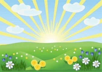 Spring cartoon landscape abstract background