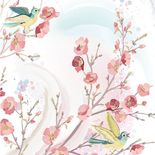 Spring flowers and birds vector background