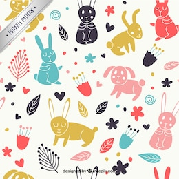 Spring pattern with animals and flowers