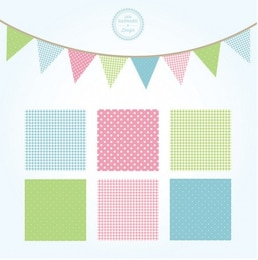 Square patterns set in soft colors