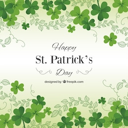 St Patricks day card with shamrocks