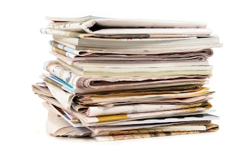 Stack of old newspapers and magazines