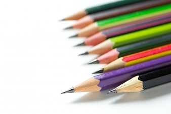 Stack of pencils on white background