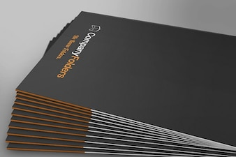 Stacked Side View Folder Mockup Template Free PSD