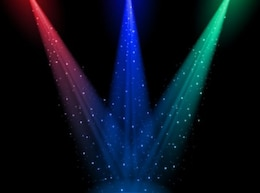 Stage lights in darkness