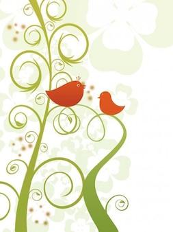 Stalk love bird branch twitter romance postcard