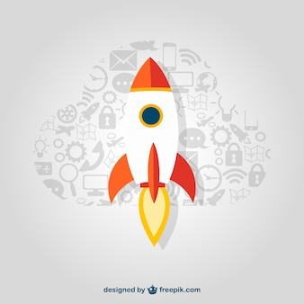Startup rocket with icons