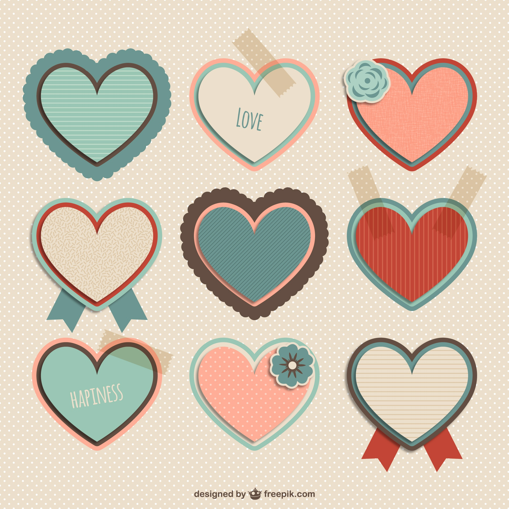 Stationery hearts collection