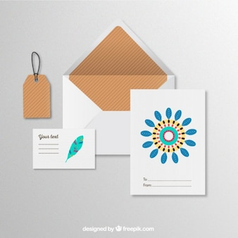 Stationery with colorful feathers