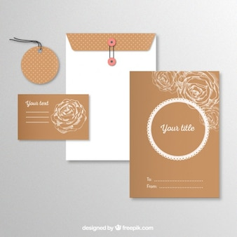Stationery with sketchy roses