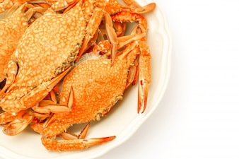 Steamed crabs on white background .
