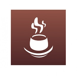 Steaming coffee cup vector graphic logo