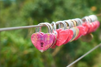 Steel cable with heart-shaped padlocks