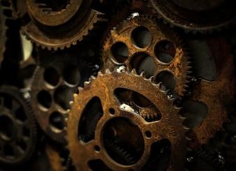 Steel machine closeup precise wheel