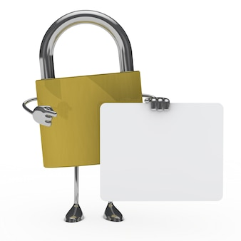 Steel padlock with an empty signboard