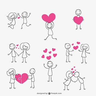 Stick figure couple in love