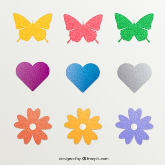 stickers in different shapes with glitter