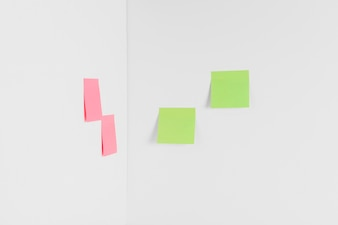 Sticky notes in corner of room