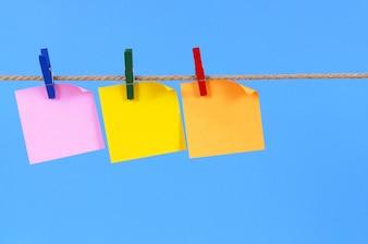 Sticky notes on a rope