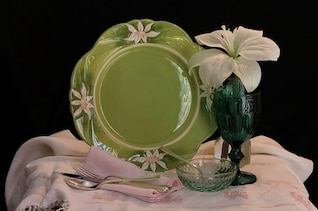 still life glass plate dining fork dish bowl