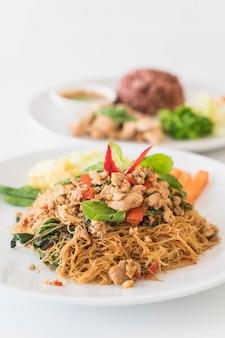 Stir-fried noodle, pork and basil