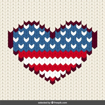 Stitched United States heart