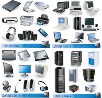 stlish computer and accessories vector icon set