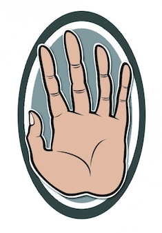 Stop, palm of hand in an oval