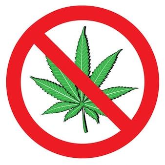 Stop symbol with marijuana leaf