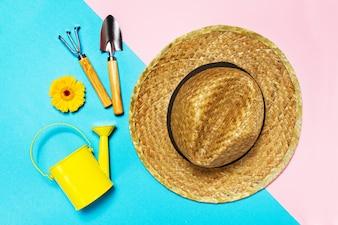 Straw hat lay rake hat summer