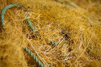 Straw with a blue rope
