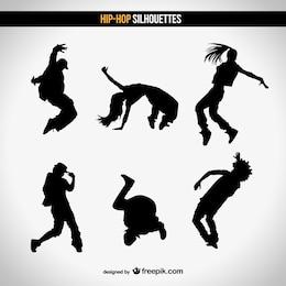Street dance vector silhouettes