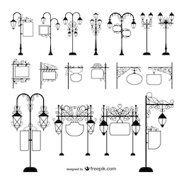 Street lamps and signage