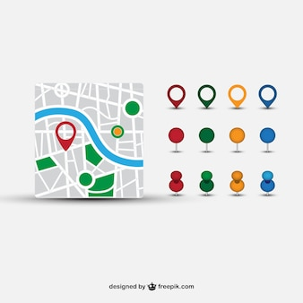 Street map and different pointers