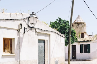 Street of a village on a sunny day