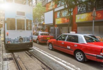 Улицы и такси в Гонконге