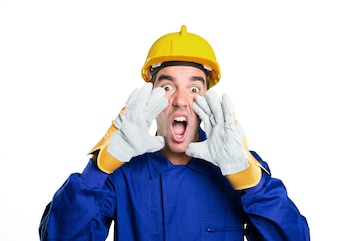 Stressed worker shouting on white background