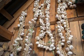 String of garlic on wooden background