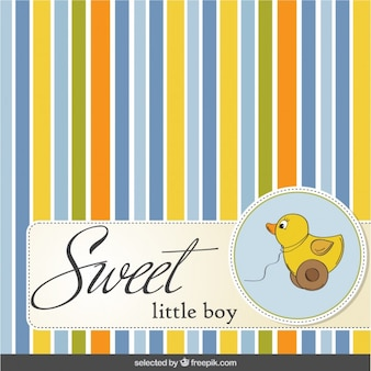 Striped and colorful baby shower card with  toy  duc