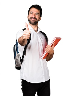 Student man with thumb up