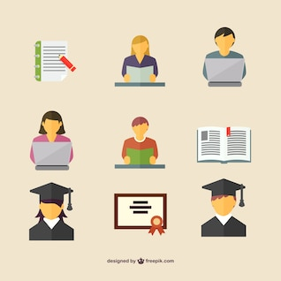 Students icons free graphics