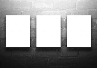 Studio background with empty billboard on black brick wall - well use for present products. Vintage Toned.
