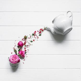 Studio photo, white tea and flowers