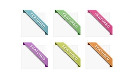 stylish featured corner ribbons set psd