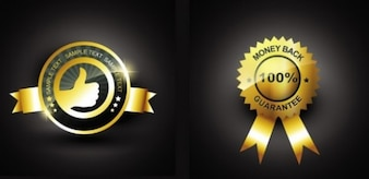Stylish glossy gold badges vector set