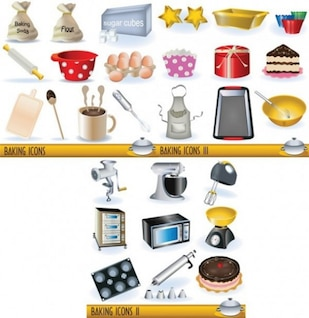 stylish kitchen and cookware 3D icons