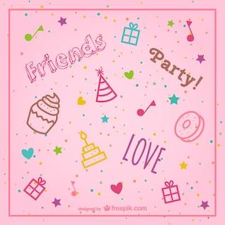 stylish pink birthday background vector