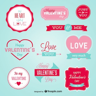 Stylish Retro Badges for Valentine's Day