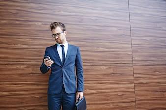 Successful person elegant business briefcase